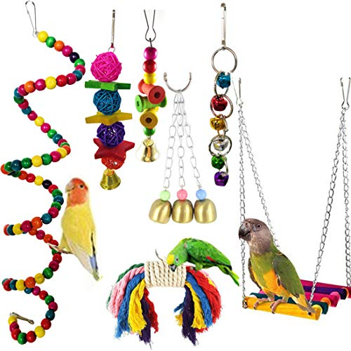 7pcs Birds Cage Swing Set Parrots Toys with Bell Colorful Chewing Hanging Hammock for Parakeets, Macaws, Conures…