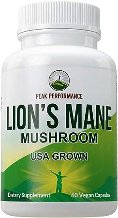 Lions Mane Mushroom Capsules - USA Grown + Vegan Lion's Mane Nootropic Supplement for Memory, Focus, Brain Health, and Immune Support. Lion Mane Mushrooms Extract 60 Pills