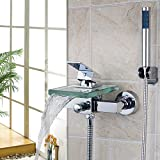 Ohcde Dheark Square Wall Mounted +Handheld Waterfall Glass Bathtub Faucet Two Hole One Handle Wall Mount Tub Mixer Tap