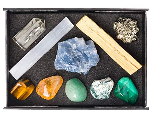 Premium Quality Crystal Set for Abundance & Prosperity - Natural Citrine Point, Malachite, Pyrite, Aventurine, Blue Calcite, Tree Agate, Tiger's Eye, Palo Santo, Selenite Stick + Info Guide & Gift ()