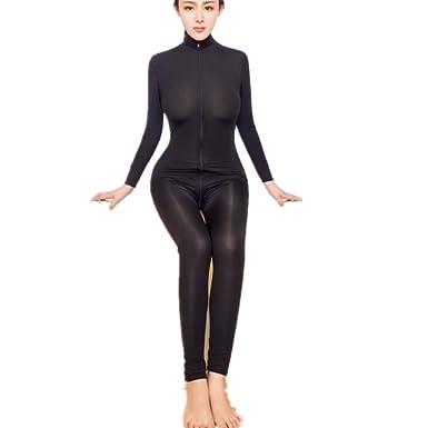 CIELLTE Combinaison Femme Sexy Body Zipper Manches Longues Jumpsuit  Erotique Femmes Nuit d uniformes Temptation fde07dff6c32