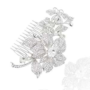 EVER FAITH® - Cristal Austriaco Novia Peine Peineta de Pelo Art Nouveau Flor Mariposa Plata-Tono Claro N00142-1