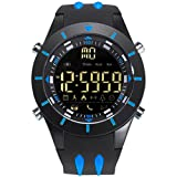 SMAEL Waterproof Men's Sport Watch Cool Electronic Watches Men Military Alarm Clock LED Display Digital Wristwatches Automatic 8002 Series (Blue)