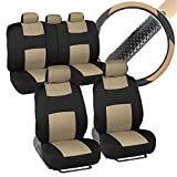 honda crv 2005 cargo cover - BDK Interior Savers - Polyester Cloth Car Seat Covers & Sport Grip Steering Wheel Cover (Synthetic Leather) for Auto (Black & Beige)