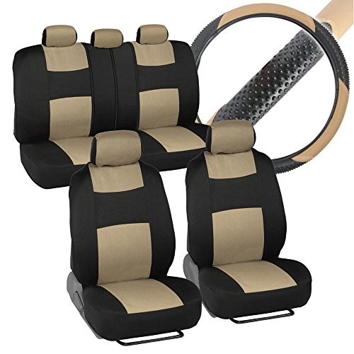 Interior Savers - Polyester Cloth Car Seat Covers & Sport Grip Steering Wheel Cover (Synthetic Leather) for Auto (Black & Beige) ()