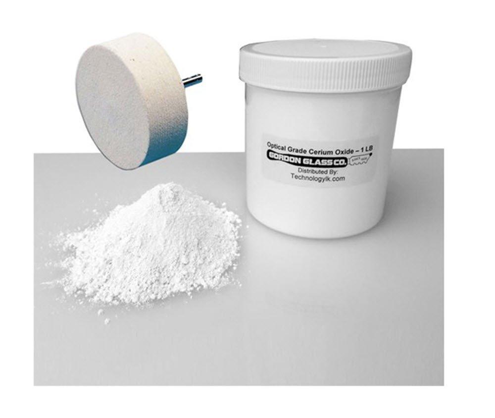Optical Grade High Purity Cerium Oxide Polishing Compound - 1 Lb and 3'' Felt Polishing Wheel Kit