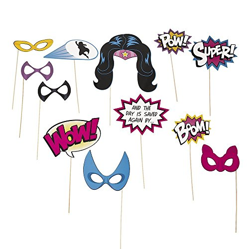 Superhero Girl Photo Booth Stick Props -