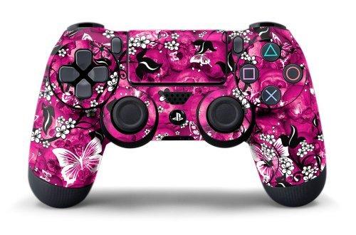 PS4 Controller Designer Skin for Sony PlayStation 4 DualShock Wireless Controller Pink Butterflies (Playstation 4 Controller Pink)
