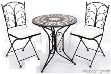 Gut Gartenmöbel Set Tisch 2 Stühle Gartenmöbel Sitzgruppe Mosaik Eisen:  Amazon.de ...