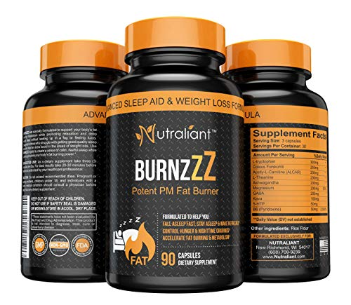 BURNZZZ PM Fat Burner – Powerful Nighttime Sleep Aid Supplement + Weight Loss + Appetite Suppressant – L-Tryptophan, 5…