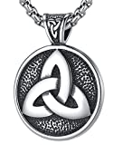 "LineAve Men's Stainless Steel Large Triquetra Celtic Trinity Knot Pendant Necklace 23"" + 2"", 7f0006"