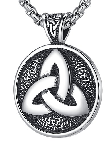 - LineAve Men's Stainless Steel Large Triquetra Celtic Trinity Knot Pendant Necklace 23