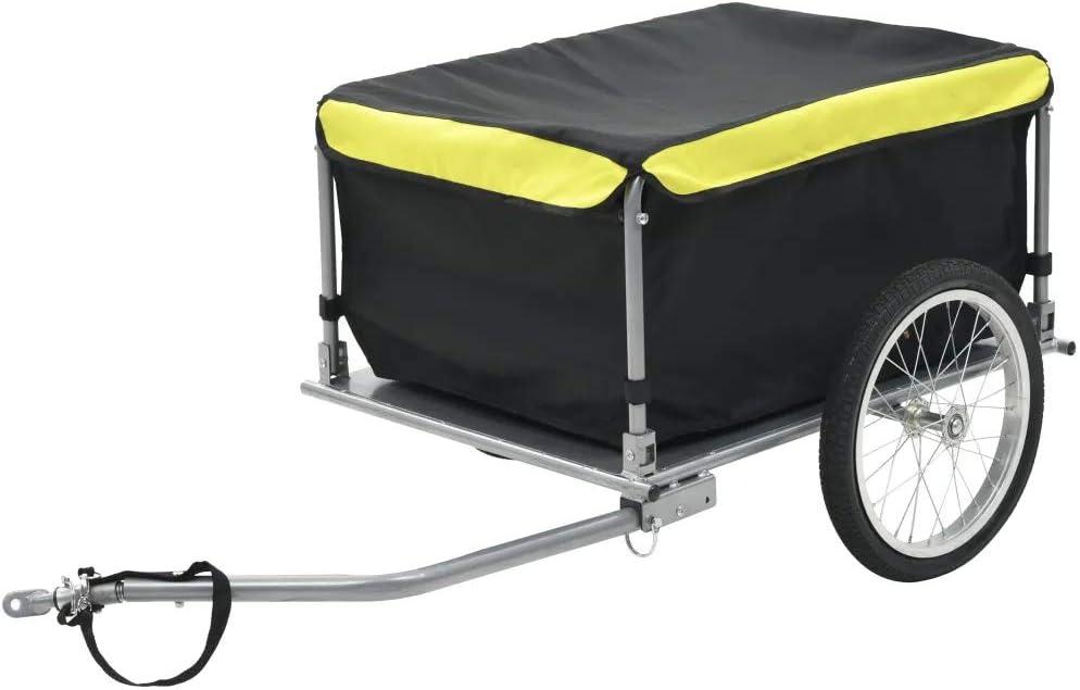 Rimorchio Carrello da Bcicletta Bici per Il Trasporto di Oggetti e Materiali Giallo Rimorchio per Biciclette Carico Massino 65 kg Rimorchio da Bici per Il Trasporto di Merci