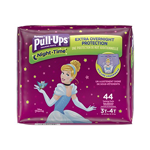 Pull-Ups Night-Time, 3T-4T (32-40 lb.), 44 Ct. (Pack of 2), Potty Training Pants for Girls, Disposable Potty Training Pants for Toddler Girls (Packaging May Vary)