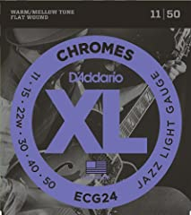 Pursue your passion with the world's most popular flatwound strings, D'Addario XL Chromes electric guitar strings. XL Chromes offer the perfect balance of smooth feel and warm, mellow, fat tone and deliver a round, full low end without losing...