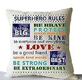 Amore Beaute Superhero Boy Room Decor Throw Pillows Cover Superhero Rule Cushion Cover Handmade Linen Decorative Pillow Case Birthday Present Baby Boy Gift Nursery Decor Present Christmas Gift