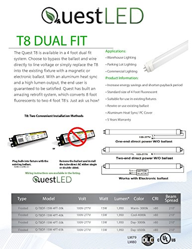 LED T8, T10, T12 Tube Light 4FT; 15W (36w Equivalent) 120-277V, Works WITH or WITHOUT Ballast, Single or Double Ended Powered; 1,950 Lumens; UL/DLC (Day Light 5000K)- 25 PACK by Quest (Image #3)