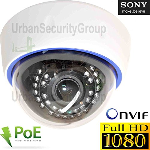 USG 2MP 1080P IP PoE Dome Network Security Camera : 2.8-12mm Varifocal Lens : 30x IR LEDs : IR-Cut, ONVIF, WDR, Motion Detection : Easy To Mount Indoor Plastic Dome Housing by Urban Security Group