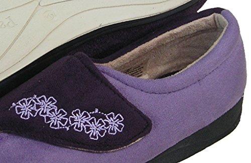 PADDERS Womens Soft Microfiber Velcro Strap Slipper (Purple) EE Width jrb1l4