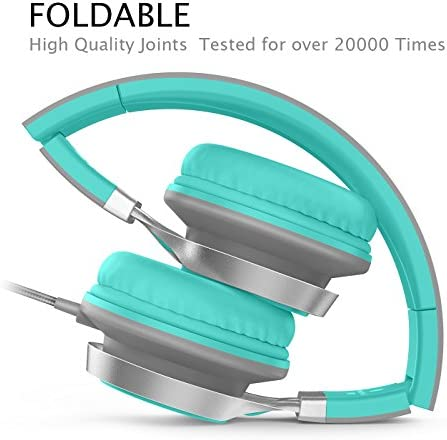 AILIHEN C8 Headphones with Microphone and Volume Control Folding Lightweight Headset for Cellphones Tablets Smartphones Laptop Computer PC Mp3/4 (Grey/Mint) 51AKuu0X4jL
