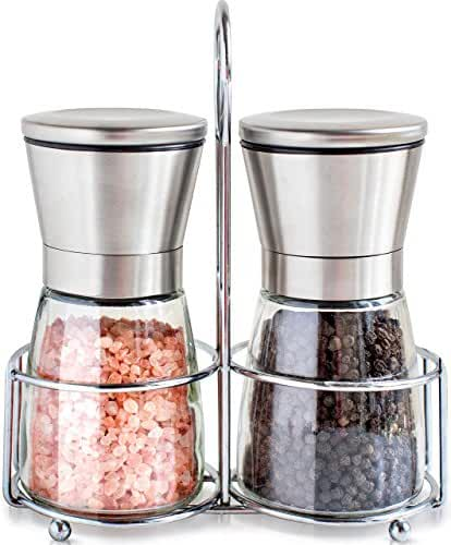 Salt and Pepper Grinder Set with Matching Stand - Salt and Pepper Shakers - Salt Grinder with Adjustable Coarseness - Brushed Stainless Steel Salt and Pepper Mill Pair for Pink Himalayan Salt