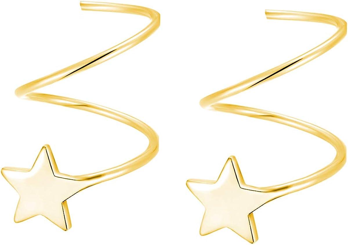 SLUYNZ 925 Sterling Silver Star Earrings for Women Teen Girls Fashion Star Wrap Earrings
