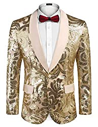 Men's Sequins Floral Pattern One Button Blazer