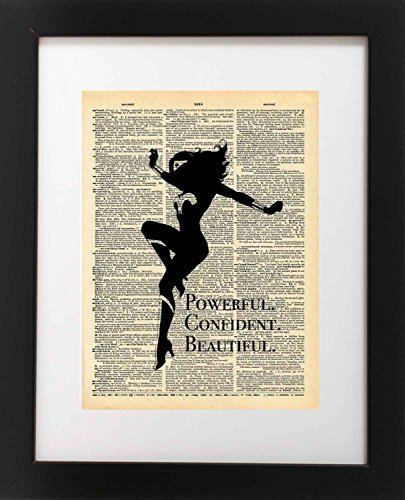 Vintage Hand Signed (Wonder Woman Art - Confident Beautiful Powerful Quote - Vintage Dictionary Print 8x10 inch Home Vintage Art Abstract Prints Wall Art for Home Decor Wall Decorations Ready-to-Frame)