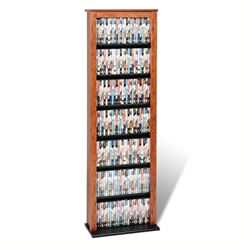 Hawthorne Collections 64'' Slim Media Storage Tower in Cherry and Black