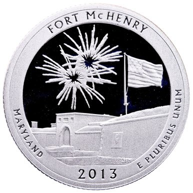 2013 S America the Beautiful Maryland Fort McHenry Silver Proof Quarter PF1