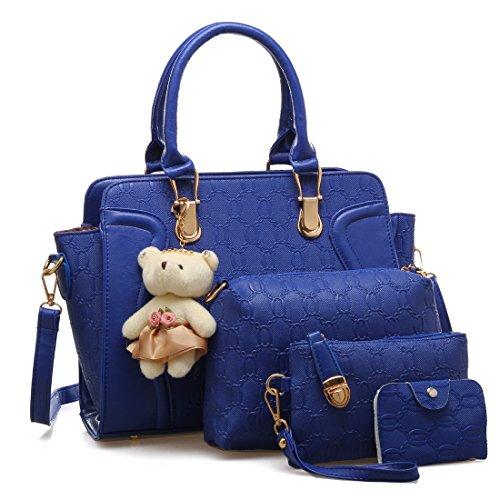 Traje Bandolera de Mujeres De Bolso Elegante Y 4 Asas Asas Azul De Bolso Con Luckywe piezas clsico 8A0q0