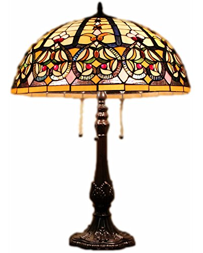 Tiffany Style Stained Glass Table Lamp Granduer w 20 Shade