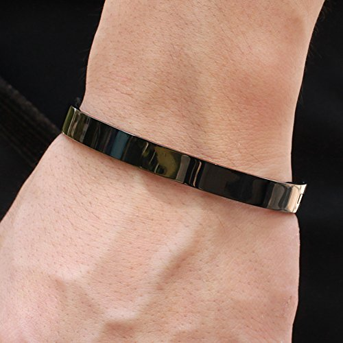 Titanium Stainless Steel Couple Cuff Bracelet Polished Pure Black Plated Finish Bangle Anti-Allergy/Anti-Color Fading