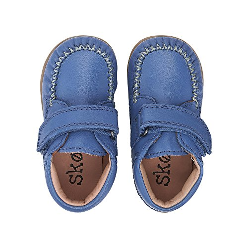 skør Kinder (Unisex) Lauflern Bootie, Blaue Leder Klettschuhe mit Leichter Flexibler PU-Sohle Blau-Mittel