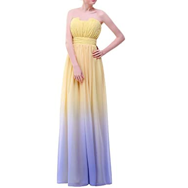 LMBRIDAL Womens Long Gradient Chiffon Ombre Formal Evening Prom Dresses Yellow 2
