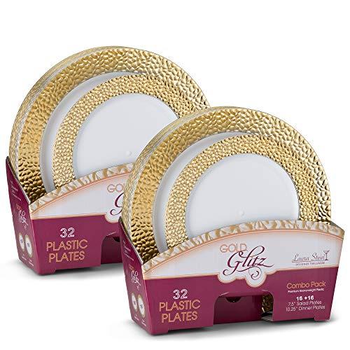 Laura Stein Designer Dinnerware Set of 64 Premium Plastic Wedding/Party Plates: White, Gold Rim. Set Includes 32 10.75 Dinner Plates & 32 7.5 Salad Plates   Glitz Series