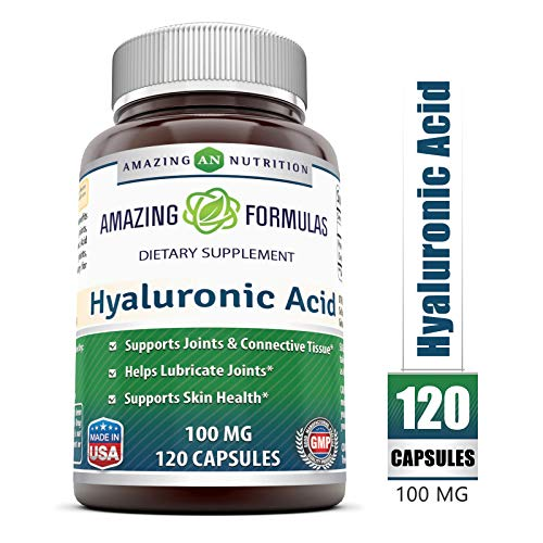 Amazing Formulas Hyaluronic Acid 100 mg 120 Capsules - Support Healthy Connective Tissue and Joints - Promote Youthful Healthy Skin (Best Hyaluronic Acid Reviews)