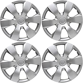 Hubcaps for 16 inch Standard Steel Wheels (Pack of 4) Wheel Covers - Snap On, Silver