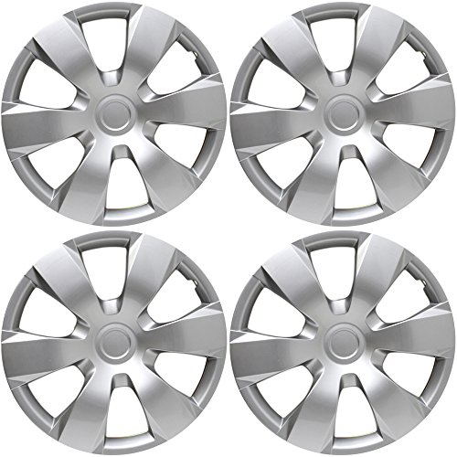 (OxGord Hubcaps for 16 inch Standard Steel Wheels (Pack of 4) Wheel Covers - Snap On, Silver)
