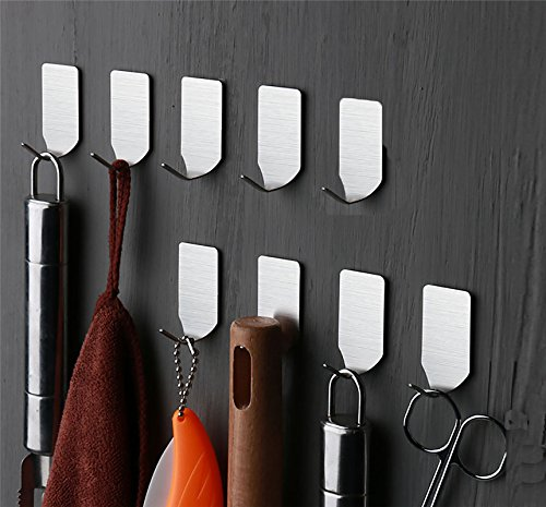 Stainless steel Wall Hooks Adhesive - Set of 10 - wall Hangers without nails - Extra Heavy Duty 16 lbs
