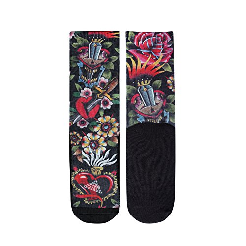 (Gold Ink Men's Novlety Crew Socks With Skull and Floral Tattoo Art Print Size 6-12)