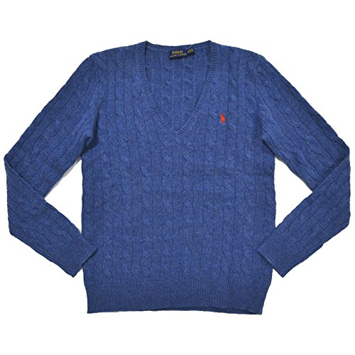 Polo Ralph Lauren Womens Merino Wool Cashmere Cable Sweater (S, Electra Blue)