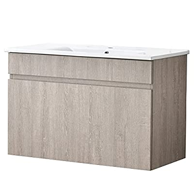 Heselian  brand bathroom vanity 36 inch Briccole Oak - Size: 36 in. W x 18 in. D x 23 FAUCET AND POP UP DRAIN NOT INCLUDE With a beautiful acrylic top paired with one larger drawers - bathroom-vanities, bathroom-fixtures-hardware, bathroom - 51AKxcGYC L. SS400  -