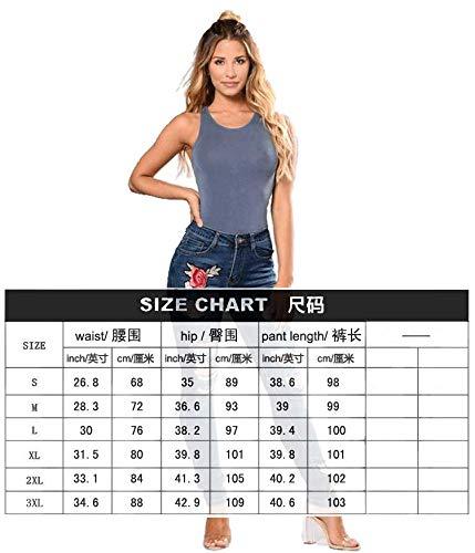 Altos Marino Ajustados Elásticos Azul Modas Pantalones Nuevas Agujeros Jeans Mujer Bordados DAMENGXIANG De 6x41718