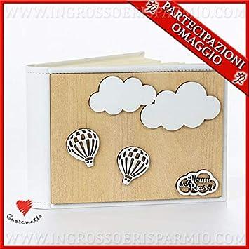 Ingrosso e Risparmio Cuorematto - Álbum de recuerdos para fotos de piel sintética y madera con globo aerostático, ideas de regalo originales, útiles, con caja de regalo incluida
