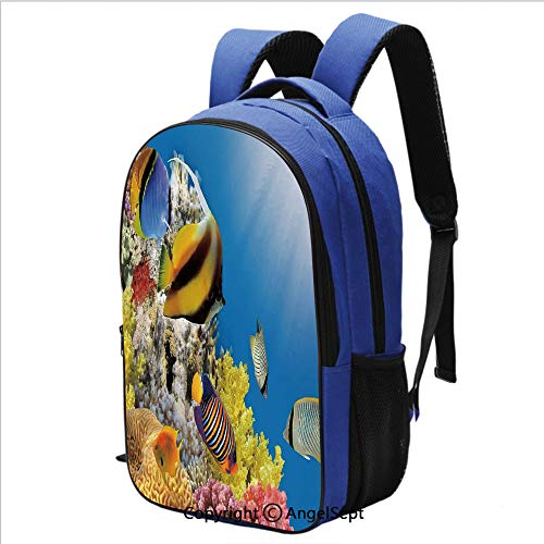 Backpack for Students Coral Colony on a Reef Top in Red Sea Egypt Exotic Fishes Aquatic Underwater Life Water Resistant Bookbag,Multicolor