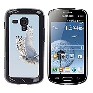 FlareStar Colour Printing Wings Flying Grey Winter Snow Hawk cáscara Funda Case Caso de plástico para Samsung Galaxy S Duos / S7562