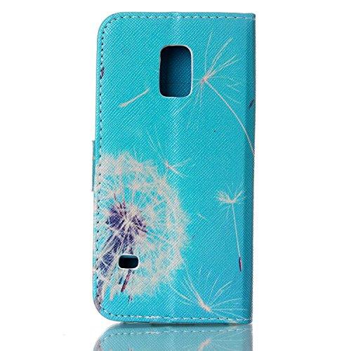 Samsung Galaxy MiniMarguerite Portefeuille Mini Lanyard Coque De Crédit Pu Flip S5 Case Avec Carte coffeetreehouse Housse Cuir Pissenlit Fentes Étui Cover Wallet Supporter Pour y6Ybf7g