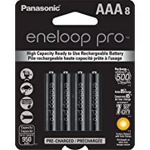 Panasonic BK-4HCCA8BA Eneloop Pro AAA NEW High Capacity 950mAh typical, 900mAh Minimum, Ni-MH Pre-Charged Rechargeable Batteries, 8 Pack