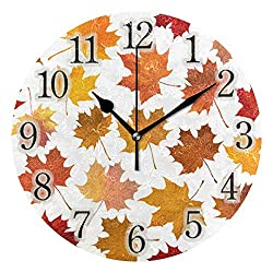 Mr.XZY Maple Leaf Autumn Round Acrylic Wall Clock Yellow Silent Non-Ticking Round Wall Clock 2010274